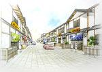 広島県北の町並み整備1の手描きパース(カラー)