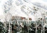 長野県に建設の雪景色スキー場の手描きパース