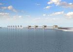 河口に水門を建設するパ-ス(遠景)