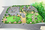 山口の観光施設隣接の公園の鳥瞰パース