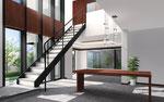 岡山に建設の住宅のダイニング内観パース