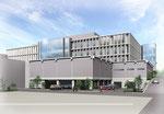 岡山県北に建設の病院の外観パース