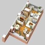 倉敷市に建設のマンションの内観俯瞰図