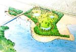 兵庫県に整備される海辺の公園の鳥瞰パ-ス
