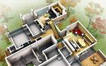 香川県に建設の住宅の内観俯瞰図パ-ス