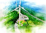 愛媛県に建設の風力発電施設の風車の鳥瞰パース
