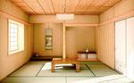 広島に建設の住宅の和室内観パース(昼)