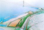 明石大橋たもとの公園整備の鳥瞰パース