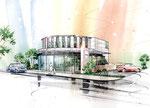 岡山に建設のケーキ店の手描きパース