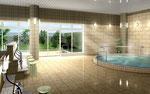 岡山に建設の健康センターの浴室の内観パース