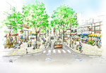 岡山市中心部に整備される賑わいのある幅が広い歩道の鳥瞰スケッチ