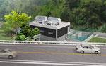 兵庫県に建設の浄水場の鳥瞰パ-ス1