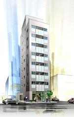 岡山に建設のスリムなマンションの外観パース