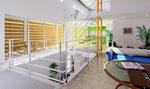 岡山に建設の住宅のリビング内観パース