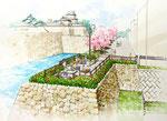 城を望む公園整備計画の鳥瞰パース