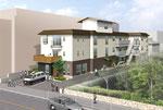 福山市に建設の医療団地の鳥瞰図