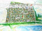 香川県の住宅団地開発の鳥瞰手描きパース