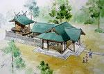 岡山の神社改築の鳥瞰手描きパース