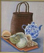 籠と陶器と貝殻たち 油彩10号