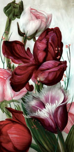"""Lukas Johannes Aigner, """"Blumenstillleben, Acryl auf MDF, 200x100 cm, 2012"""