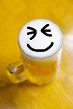 ビールの笑顔
