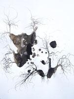 LAST n°79 brou de noix, encre et sciure sur papier 50 x 65  2009