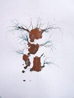 LAST n°86 brou de noix et pigments sur papier 50 x 65  2009