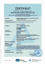 Zertifikat für tragende Aluminiumtragwerke bis EXC2 nach EN 1090-3