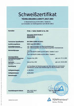 Schweißzertifikat für Stahltragwerke nach DIN EN 1090-2