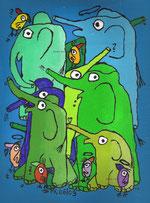 """Elefantomie"" Acryl auf Leinwand, 24/13 cm, Juni 2009"