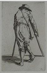 mendiant aux deux béquilles graveur Jacques Callot 1622