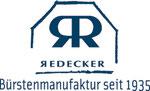 Die Grafik zeigt das Logo der Bürstenmanufaktur Redecker im Firmenblau und den Schriftzug Bürstenmanufaktur seit 1935