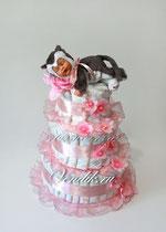 Трогательный нежный подарок для ребёнка- памперсный торт с малышом-котёнком.