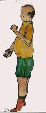 Zeichnung eines Mannes, der Wadenheben-Übung macht und dabei die Arme bewegt