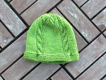 Green toddler's beanie, with cable detail