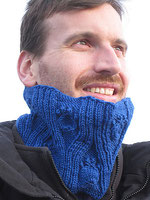 Blue cowl with textured pawprints