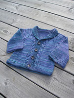 Blue and purple toddler's cardigan, with cable detail and shawl collar