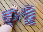 Multicoloured fingerless mitts with a flip top and picot edging