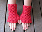 Orange Cabled Handwarmers