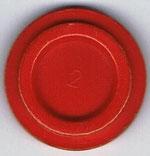 Autoscooter-Chip rot mit Zahl 2 ohne Beschriftung