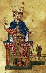 Kaiser Friedrich II. in einer Miniatur des 13. Jhdts.