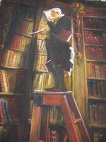 Der Bücherwurm nach Spitzweg, Lydia Hitzfeld