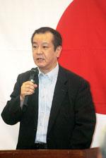 講演でオスプレイ配備に反対を訴える一水会の木村代表(6月30日午後)