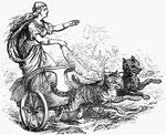 dessin noir et blanc déesse freyjha sur son char tiré par deux chats géants