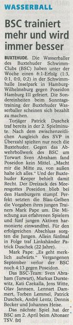 Wasserball: BSC trainiert mehr und wird immer besser. Buxtehuder Tageblatt vom 21.03.2014