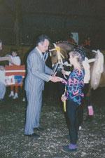 Bezirksmeisterschaften 1987 Schirmherr  Rudi Geil, Minster des Innern und für den Sport RLP bei der Siegerehrung
