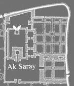 Tracé -hypothétique- de l'emprise du palais de l'Ak Saray d'après Clavijo, avec en blanc les structures subsistantes (pylônes et enceinte) (Barry Lane, 1996)