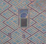 Le mausolée de Yasawi (XIV-XVè s ap J.C.) au Kazakhstan est orné de motifs coufiques réalisé en banna'i  (C.Ollagnier, 2007)