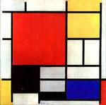 Mondrian, Composizione con grande piano rosso, giallo, grigio e blu, 1921