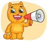 ein Comic mit Katze und Megafone